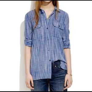 Madewell Ex-Boyfriend Indigo Weave Button Up Shirt